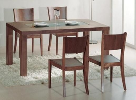 Stark contemporary dining table in walnut with glass for Kitchen table with glass insert