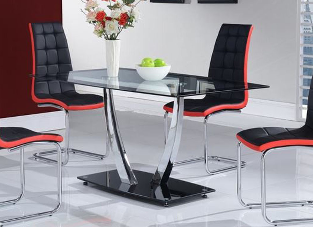 Rectangular glass top table with chrome support and black for Dining table support