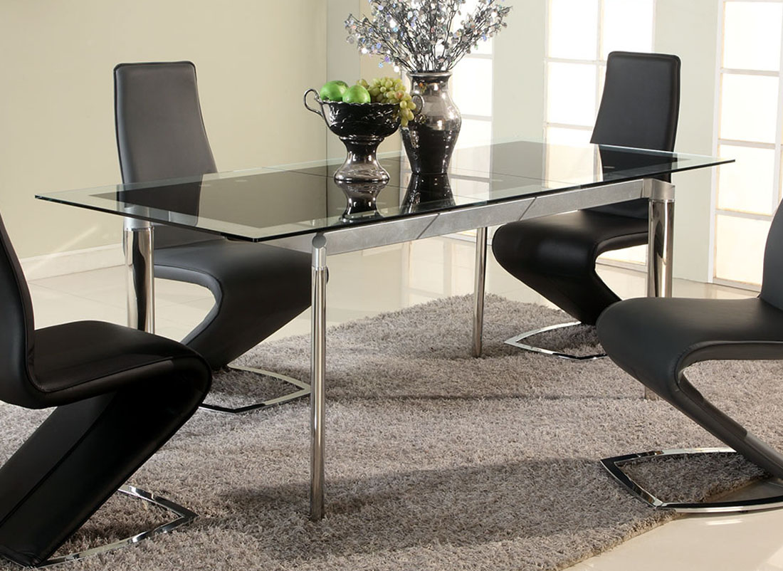 Black glass extendable dining table with chrome legs for Extendable glass dining table