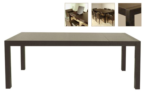 Quartz extendable dining table finished in oak chandler for Quartz top dining table