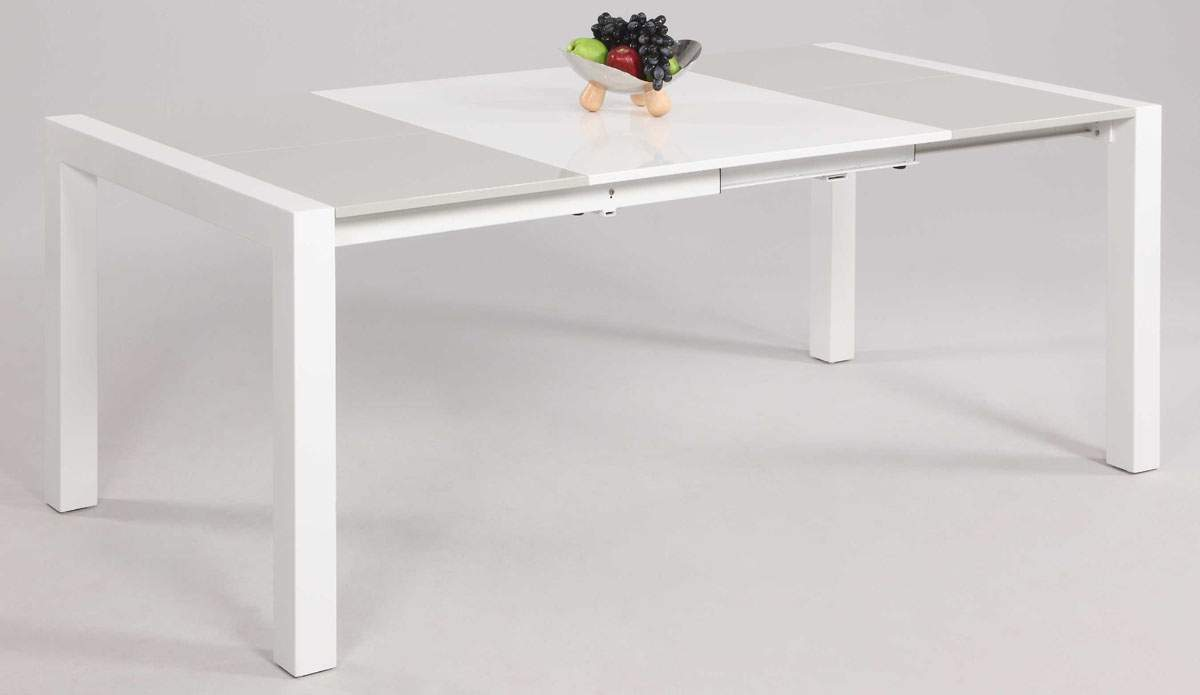 Clean lines extendable lacquer table top in glass white - White table with glass top ...