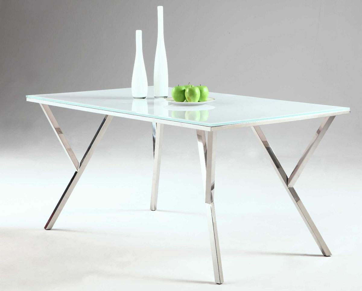 Tempered white glass table with brilliant chrome y shaped - White metal dining table ...