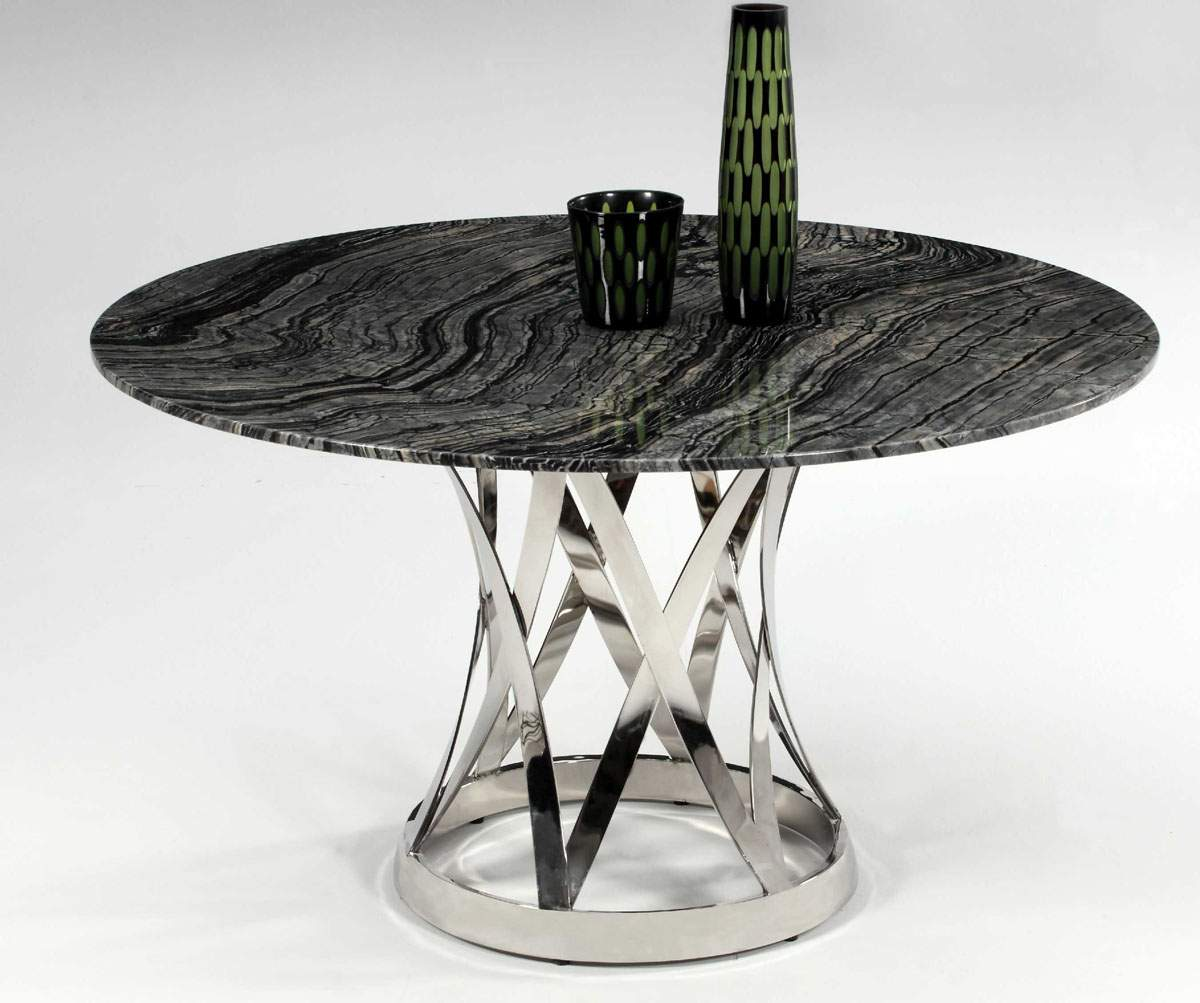 Shiny marble top and chrome plate spiral outline for Contemporary table
