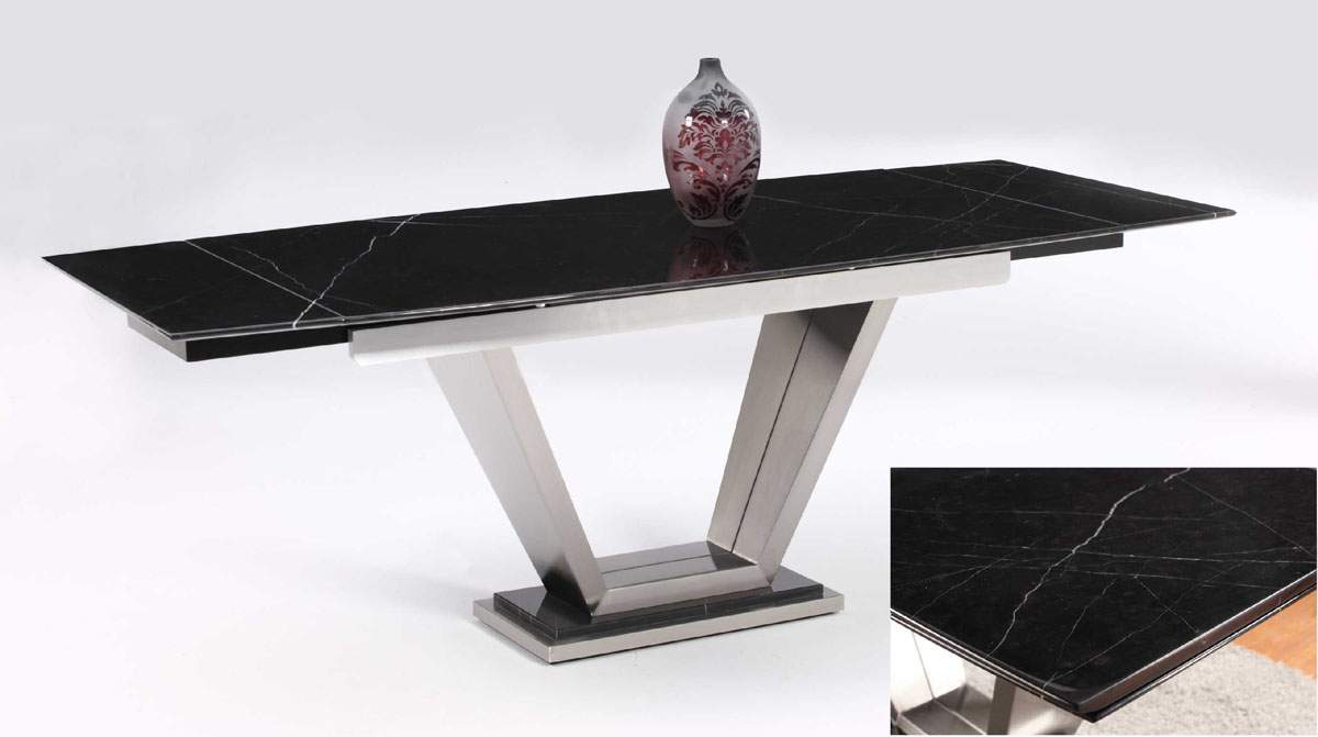 Sturdy Black Marble Table with Two Marble Extensions and Steel