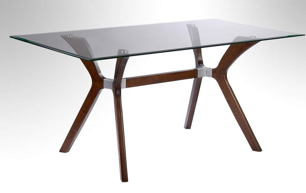 dark walnut dining table with tempered rectangular glass