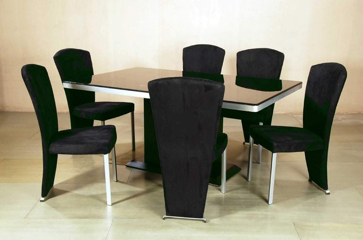 Contemporary dark cherry dining room table with black for Modern black dining table