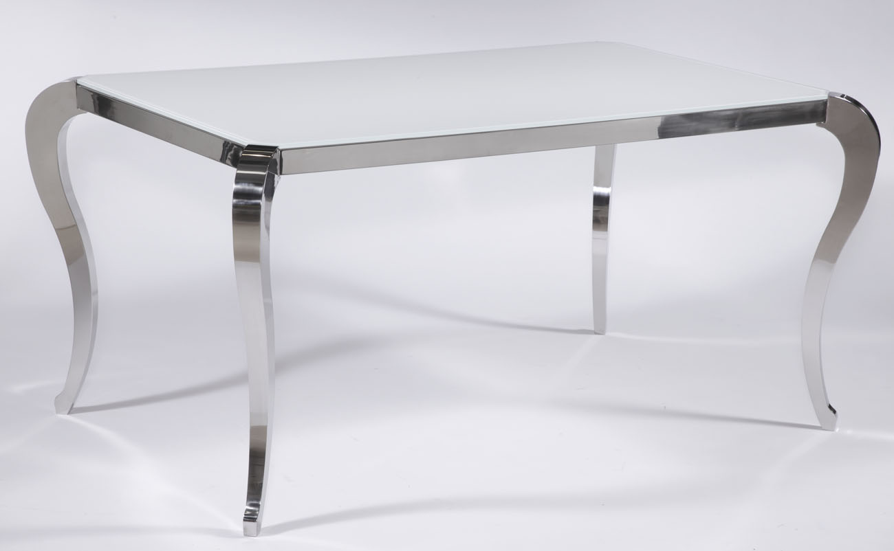 Santa Fe White Frosted Glass Contemporary Dining Table With Polished
