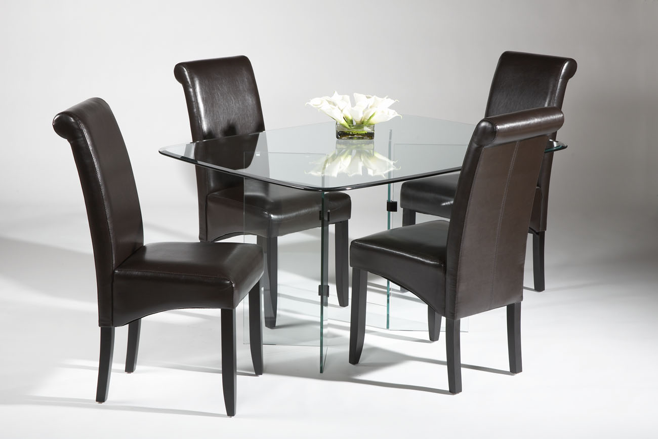 ^ small glass topped wooden dining table set. prepossessing modern ...