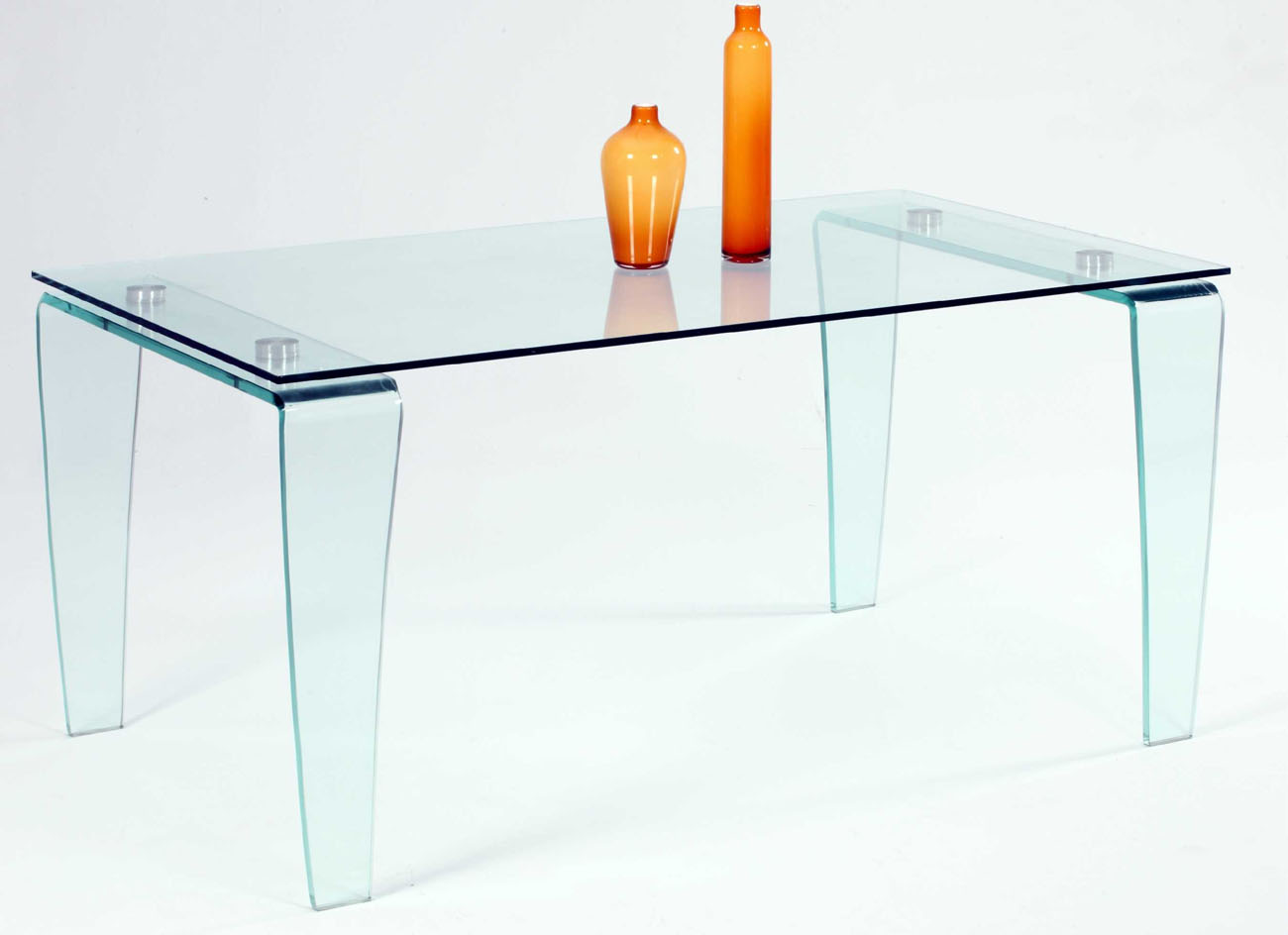Contemporary all glass dining table with clear top and Glass dining table