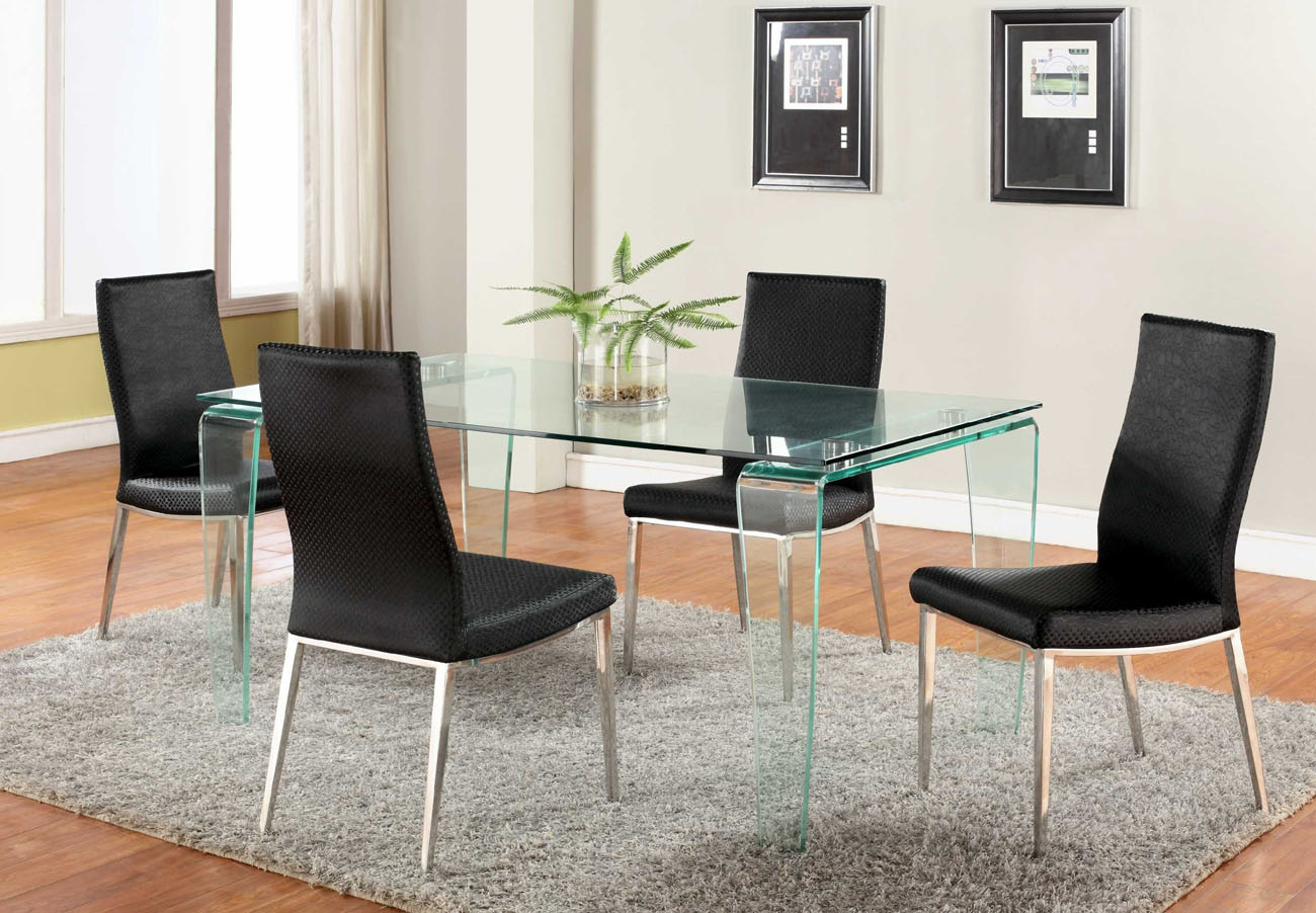 Contemporary All Glass Dining Table with Clear Top and Bent Legs ...