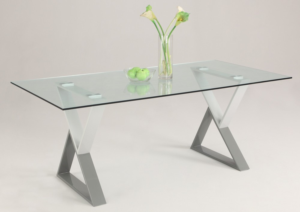 Contemporary Rectangular Glass Dining Table Top With Unique X Legs