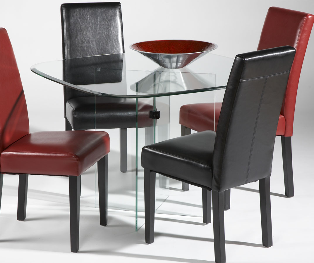 Contemporary Style Clear Tempered Glass X Base Table Fort