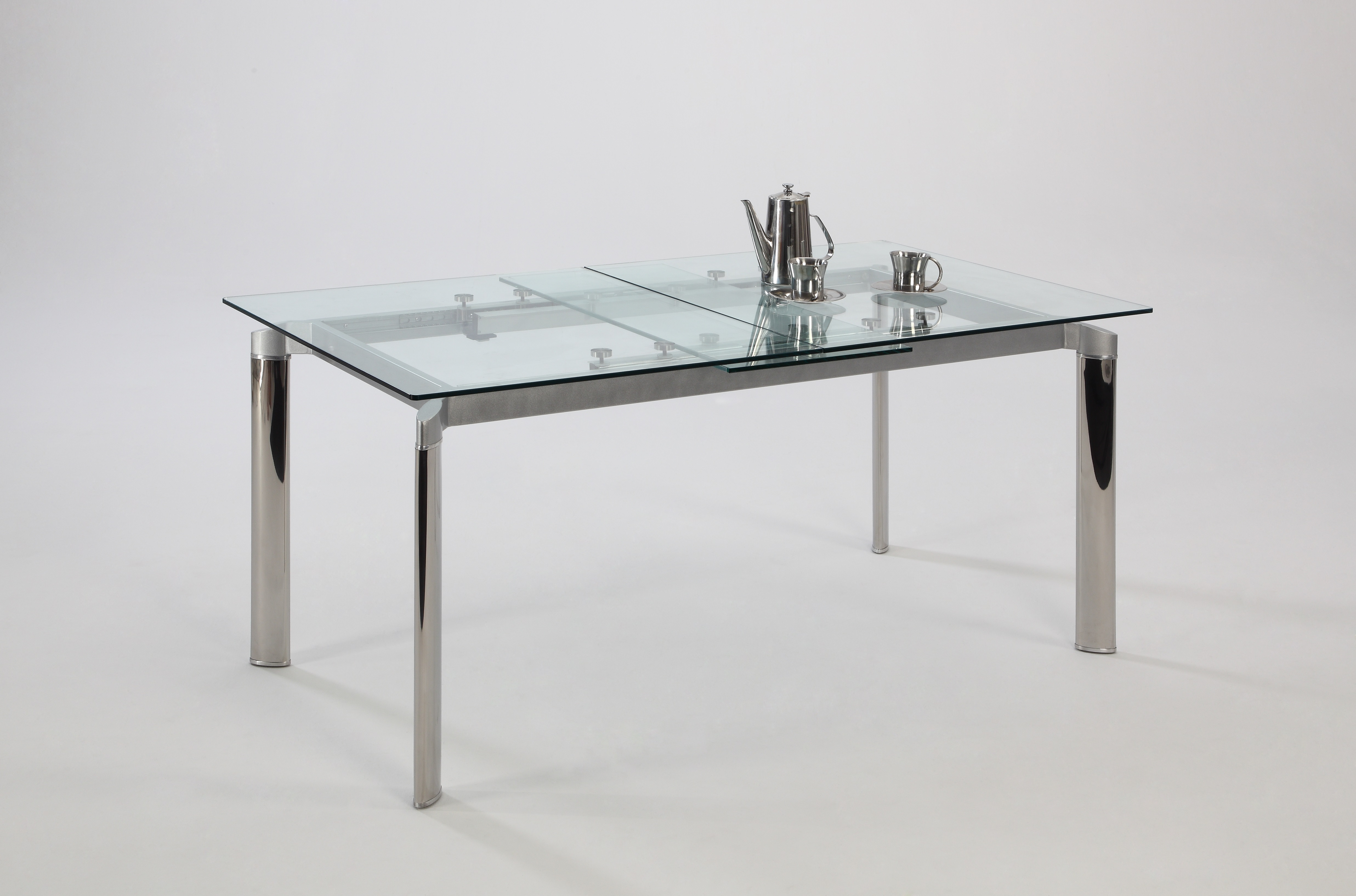 Contemporary Clear Glass and Chrome Extendable Dining  : chtara clear glass dining table02 from www.primeclassicdesign.com size 4946 x 3270 jpeg 1745kB