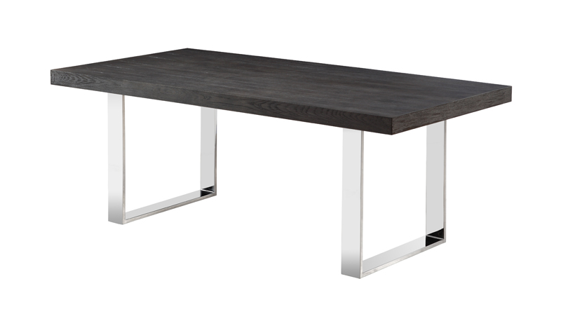 Dark Wood Finish Modern Dining Room W Optional Items: Simple Grey Elm Or Dark Walnut Finished Dining Table With
