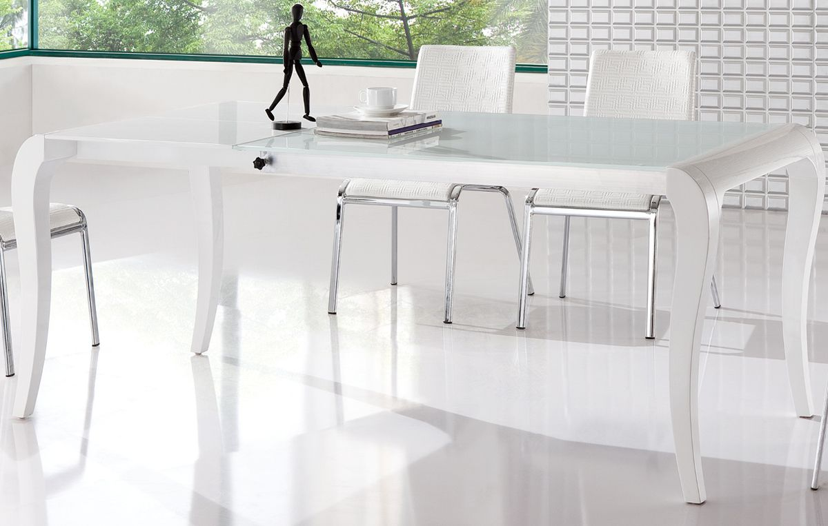 Brisk White Contemporary Extendable Dining Table Columbia South