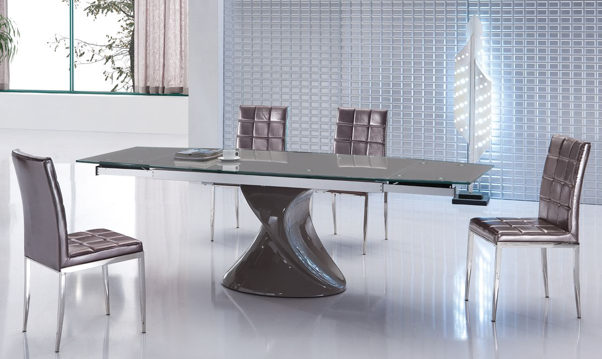 contemporary grey extendable dining table with unique base. Black Bedroom Furniture Sets. Home Design Ideas