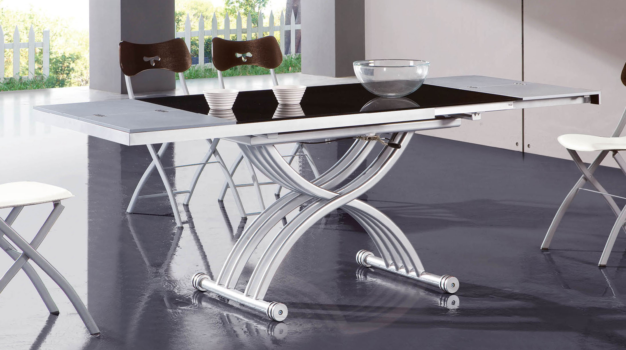 Frosted glass extendable dining table with adjustable base for Frosted glass dining table