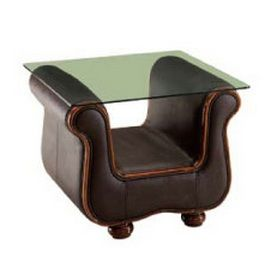 Leather End Table with Clear Glass Top