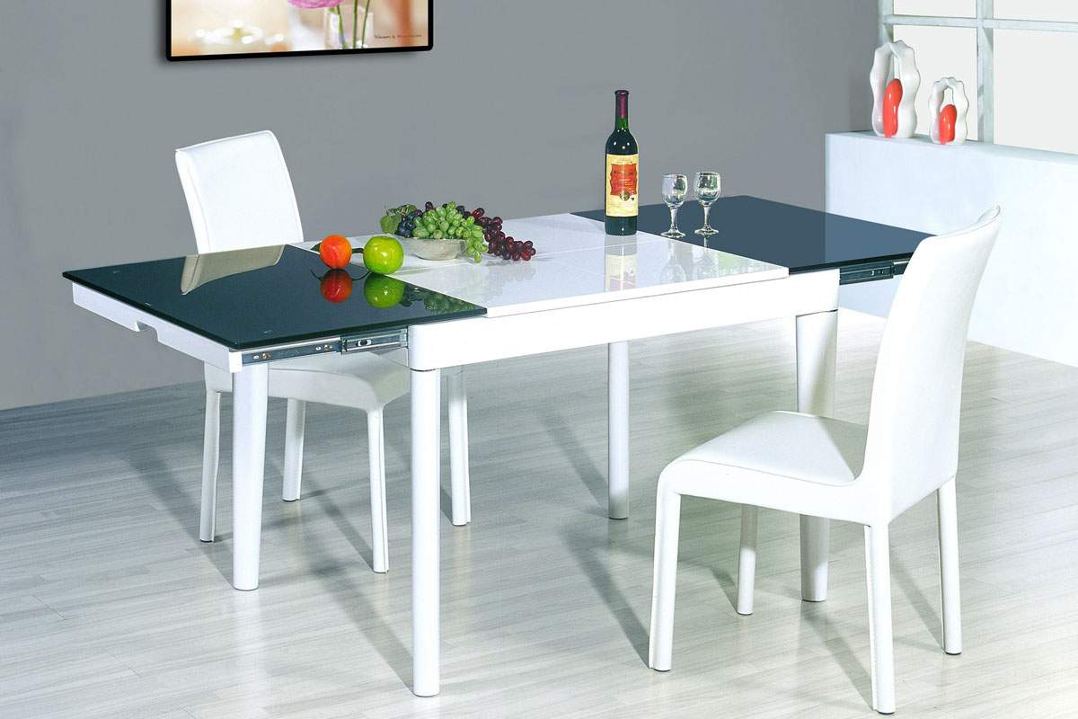 Amdis contemporary wooden dining room table w frosted leafs fort worth texas esf6015t - Modern design dining table ...