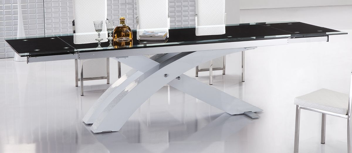 Contemporary Extendable Dining Table with Glass Top and Metal Base ...