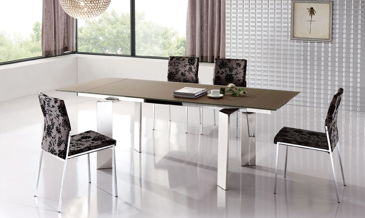 stylish extendable dining table with metal legs esf95dt. Black Bedroom Furniture Sets. Home Design Ideas