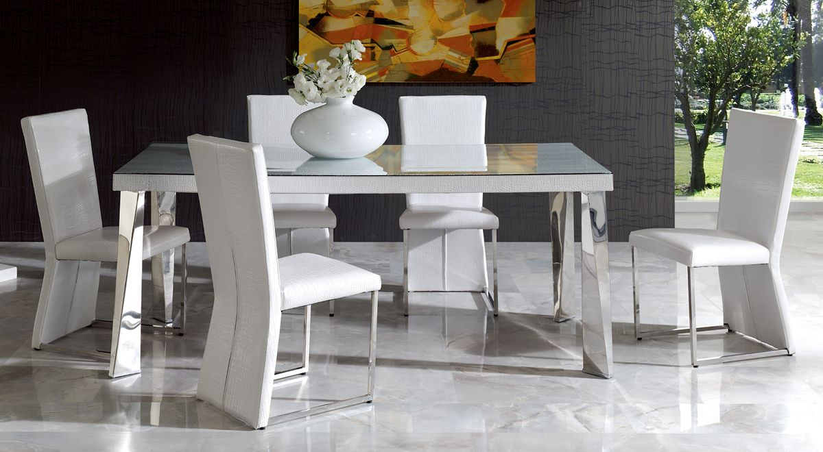 Modern White Dining Table : Coco modern dining table in white eco-leather finish Modern design ...