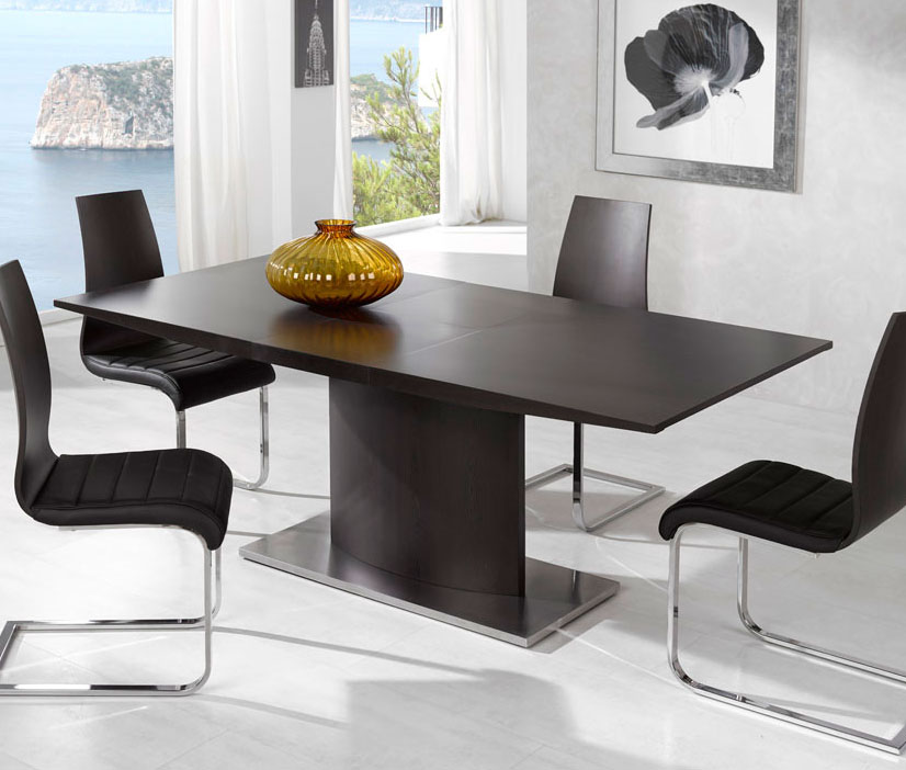 Brown Dining Table With Pedestal Support And Heavy Steel