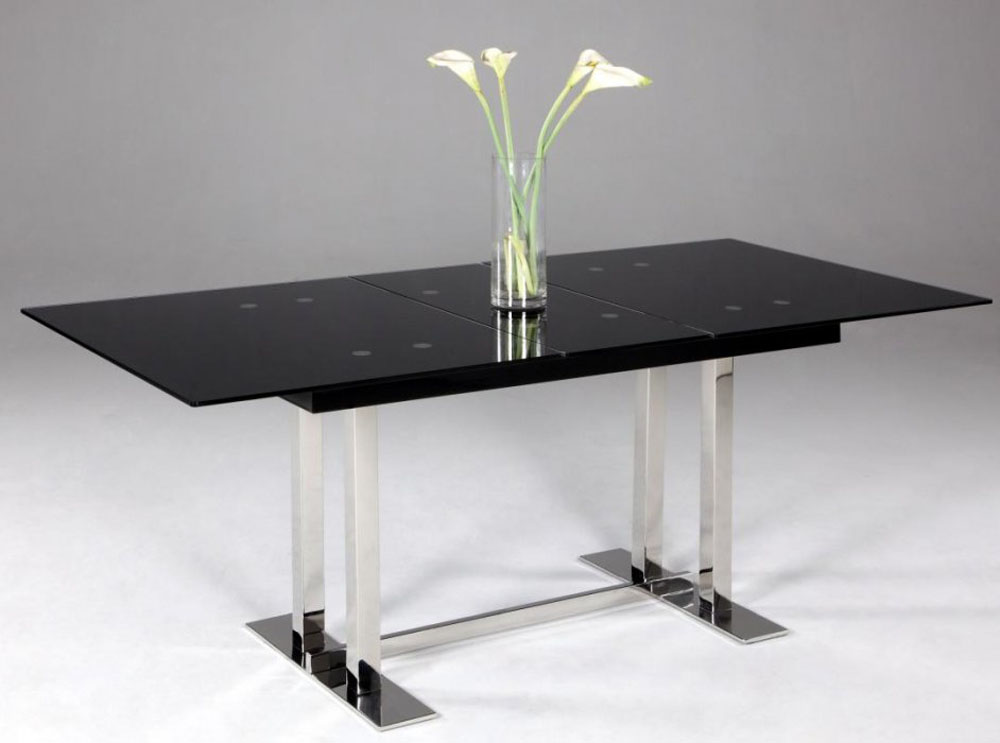 Extendable dining table with black glass top houston texas for Black glass dining table