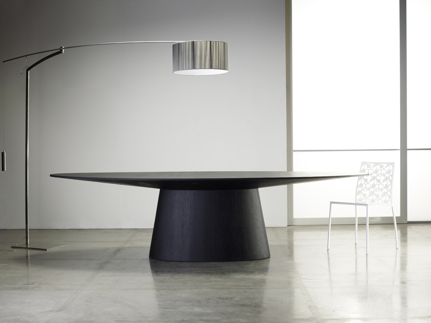 Wooden Oval Contemporary Table In Wenge Or Walnut Stockton