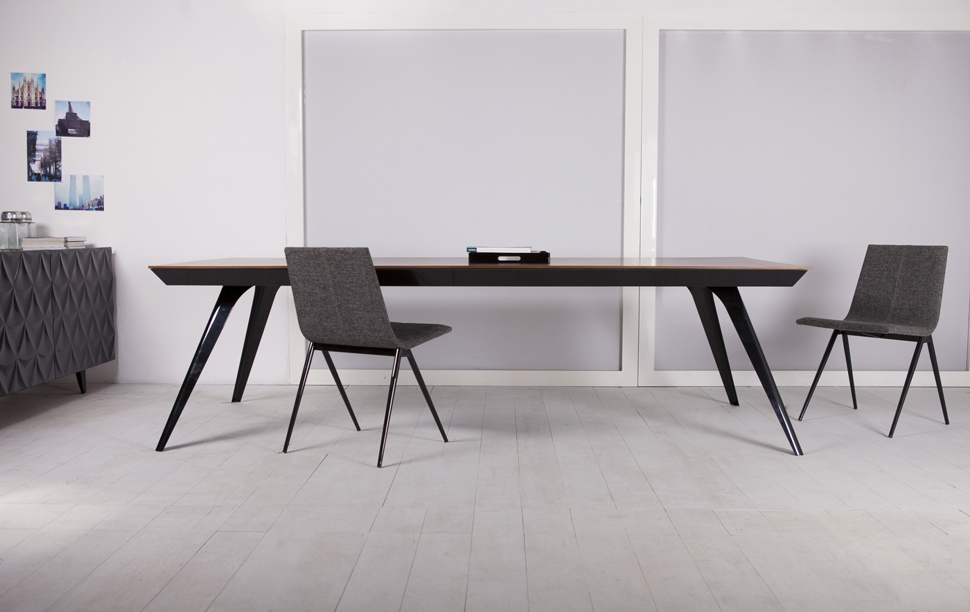 Black and teak ultra contemporary rectangular dining table for Long contemporary dining tables
