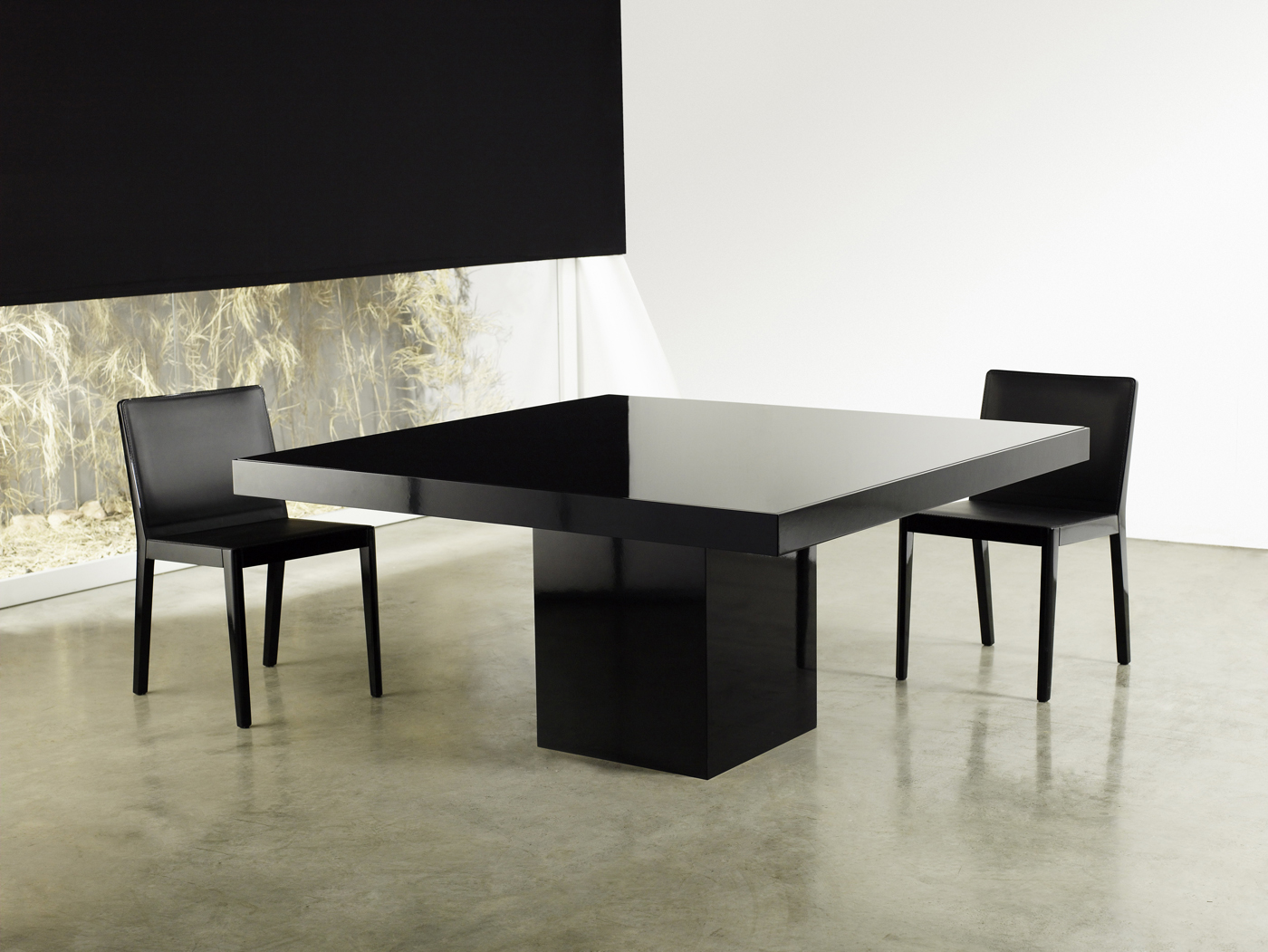 Square contemporary high gloss dining table lexington for Modern black dining table