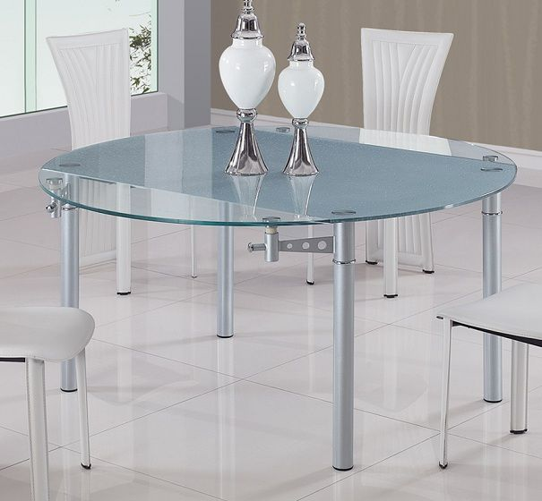Contemporary Furniture Torrance: Round Glass Top Contemporary Dining Table With Metal Legs