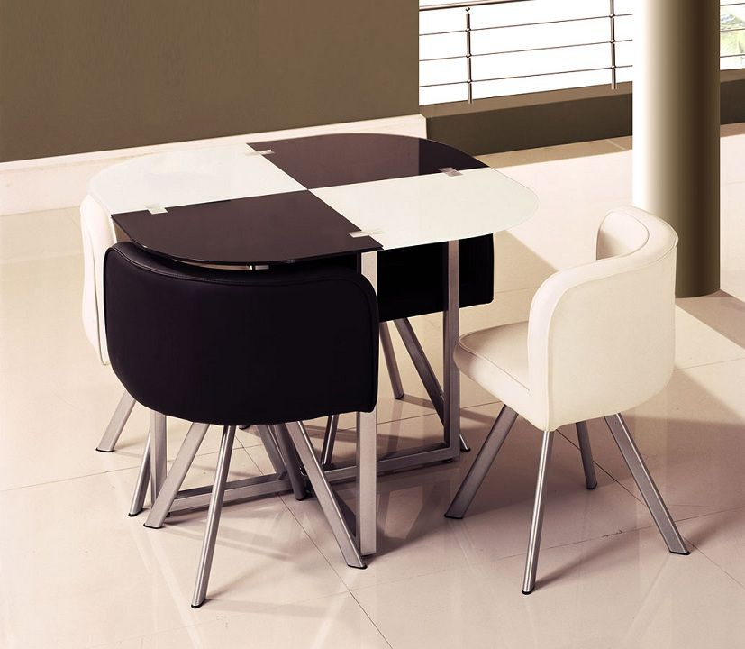 Two-Toned Black And White Contemporary Dinette Table