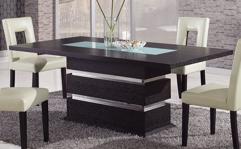 Brown contemporary pedestal dining table with glass inlay naperville illinois gfg072dt - Modern dining table ideas ...