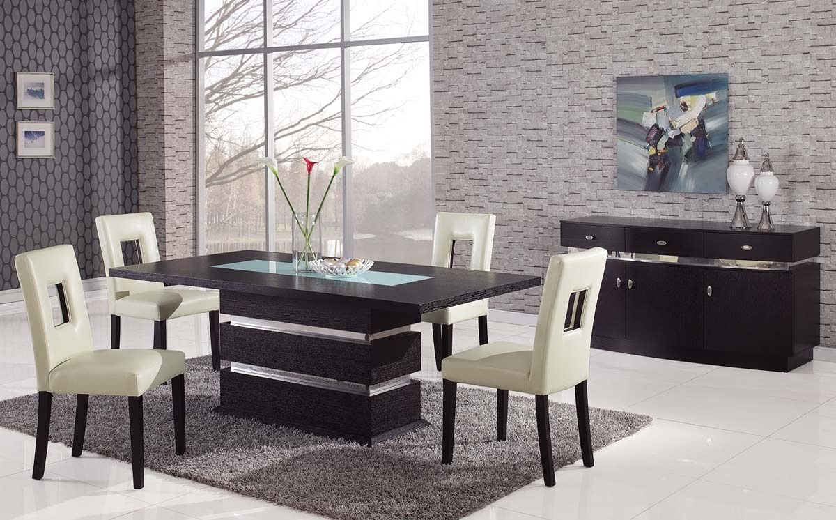 Italian Glass Dining Table Brown Contemporary Pedestal Dining Table With Glass Inlay