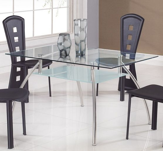 Elegant glass top dining table with a shelf bridgeport for Fancy glass dining table