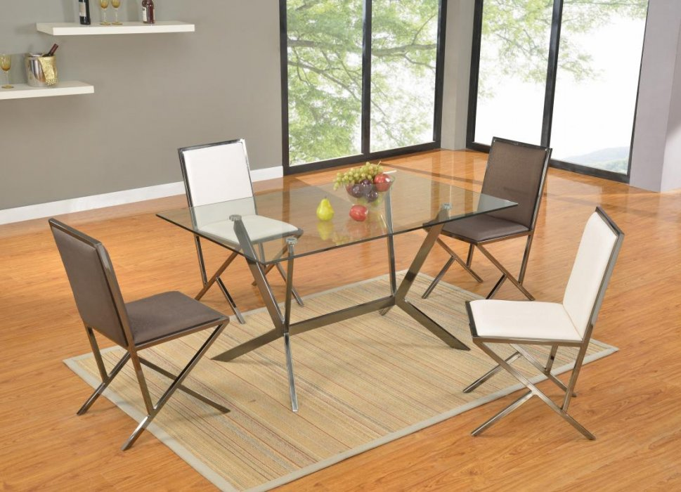 Rectangular glass dining table with brushed nickel frame Glass dining table