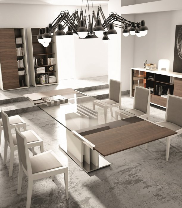 Dining Table With Clear Gl In Grey Lacquer Larger Image