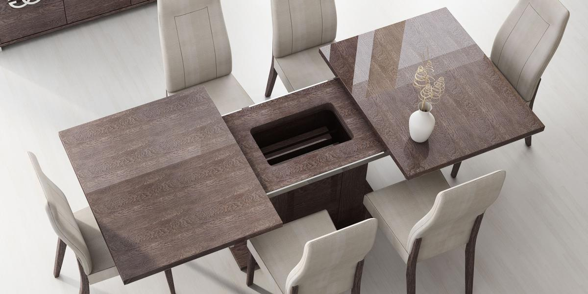 Italy made prestige extendable walnut dining table boston for Modern dinning room table