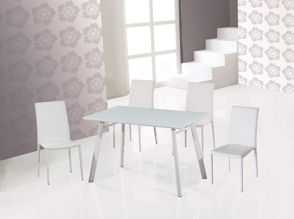 Ultra Contemporary Dining Room Table With White Lacquered