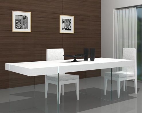 Cloud Unique Dining Table In White With Clear Glass Base