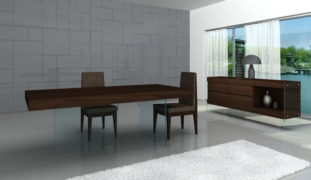 Float Contemporary Dining Table In Timber Chocolate With
