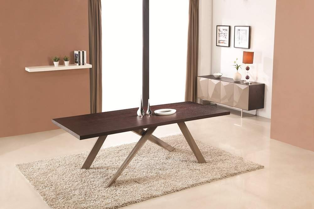 Contemporary Wooden Spacious Dining Table With X Shaped Base Legs El