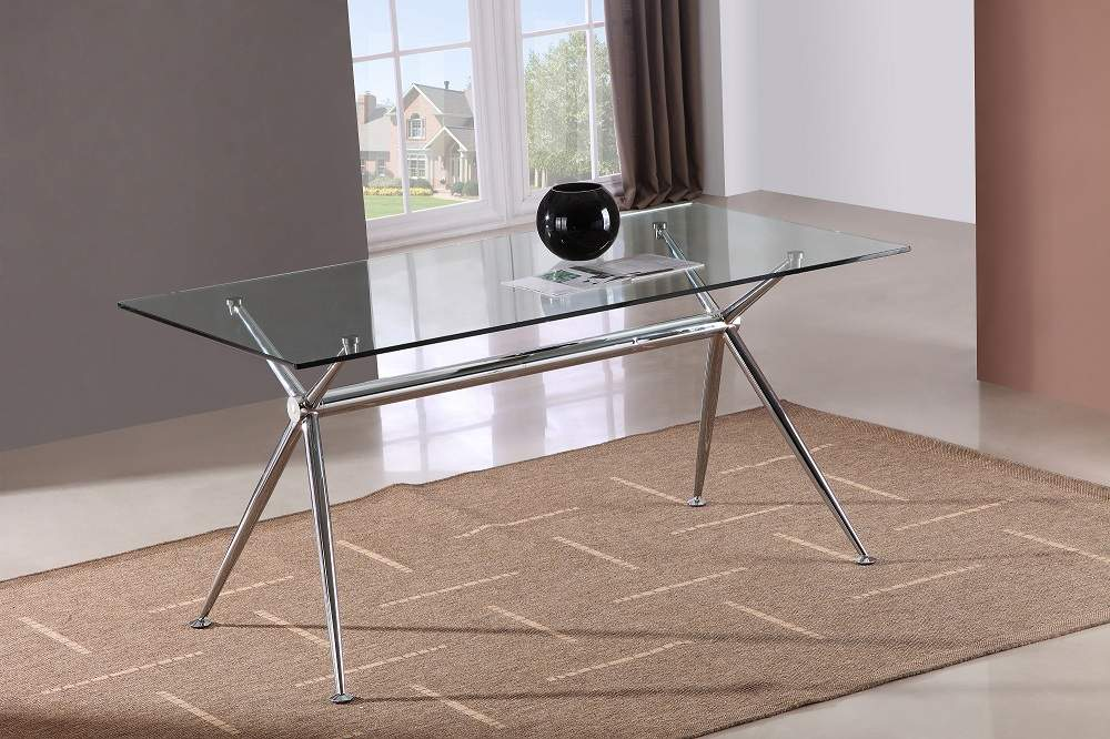 Marengo X Base Design Rectangular Dining Table With Glass