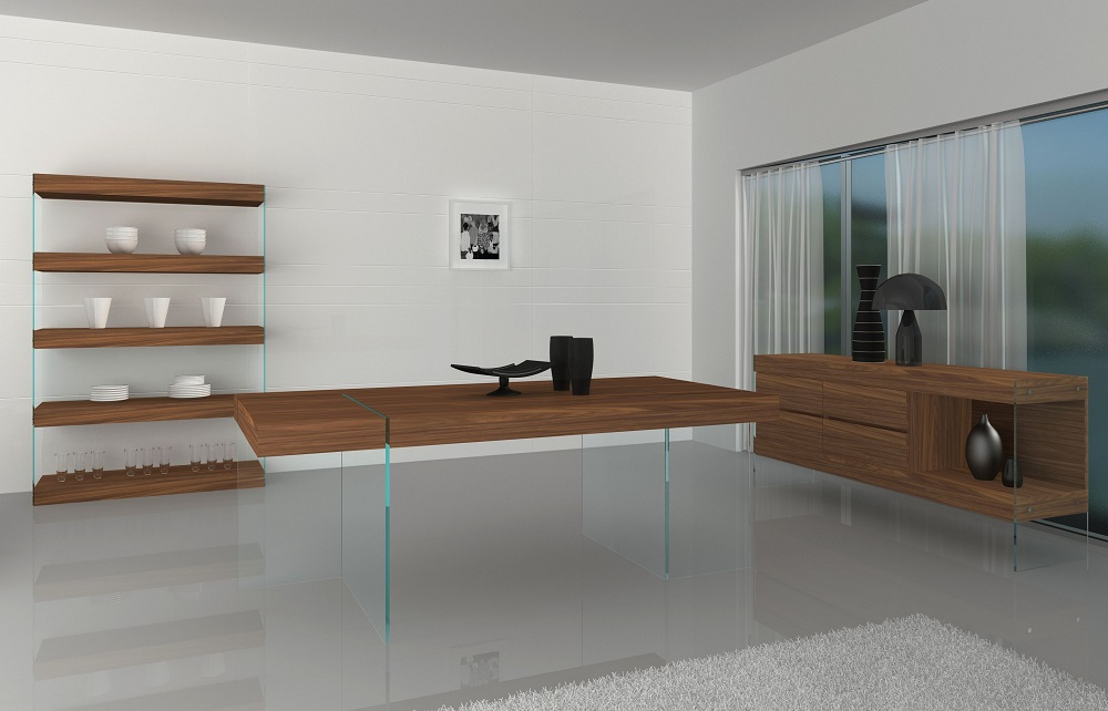 Unique floating walnut dining table with transparent glass for Floating dining table