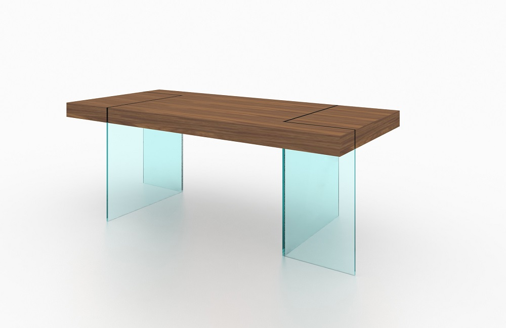 Unique Floating Walnut Dining Table With Transparent Glass Legs