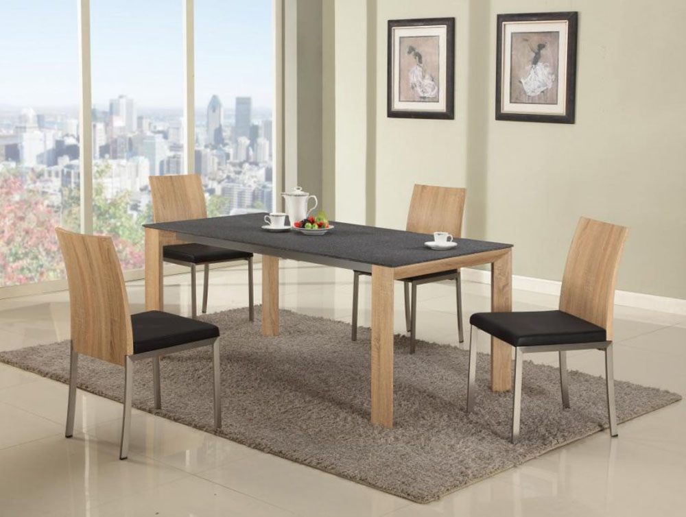 Light oak dining table with black textured table top for Light oak dining furniture