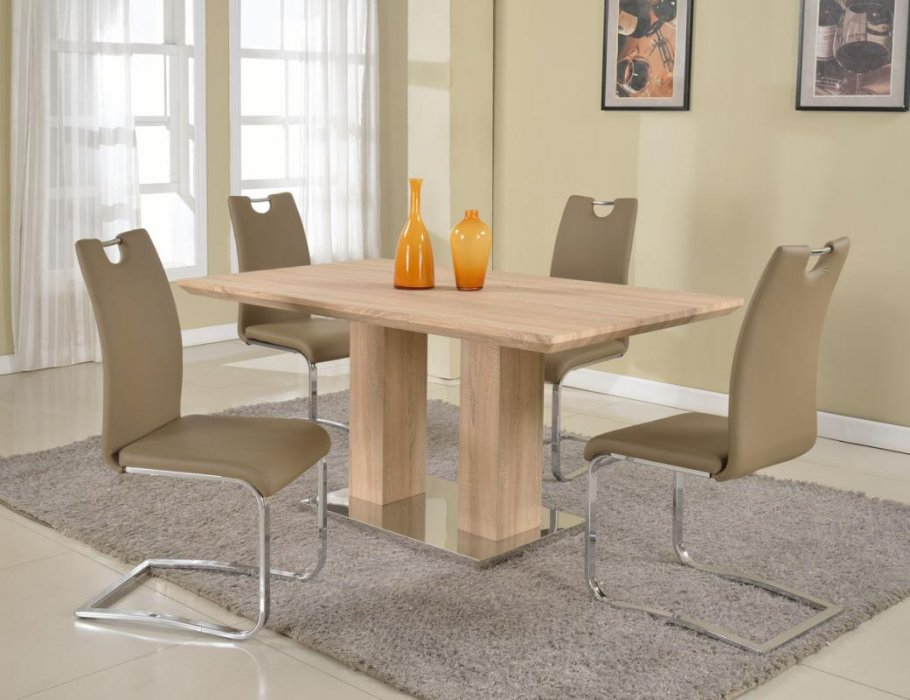 Pedestal base light oak dining table detroit michigan chjos for Modern oak dining table