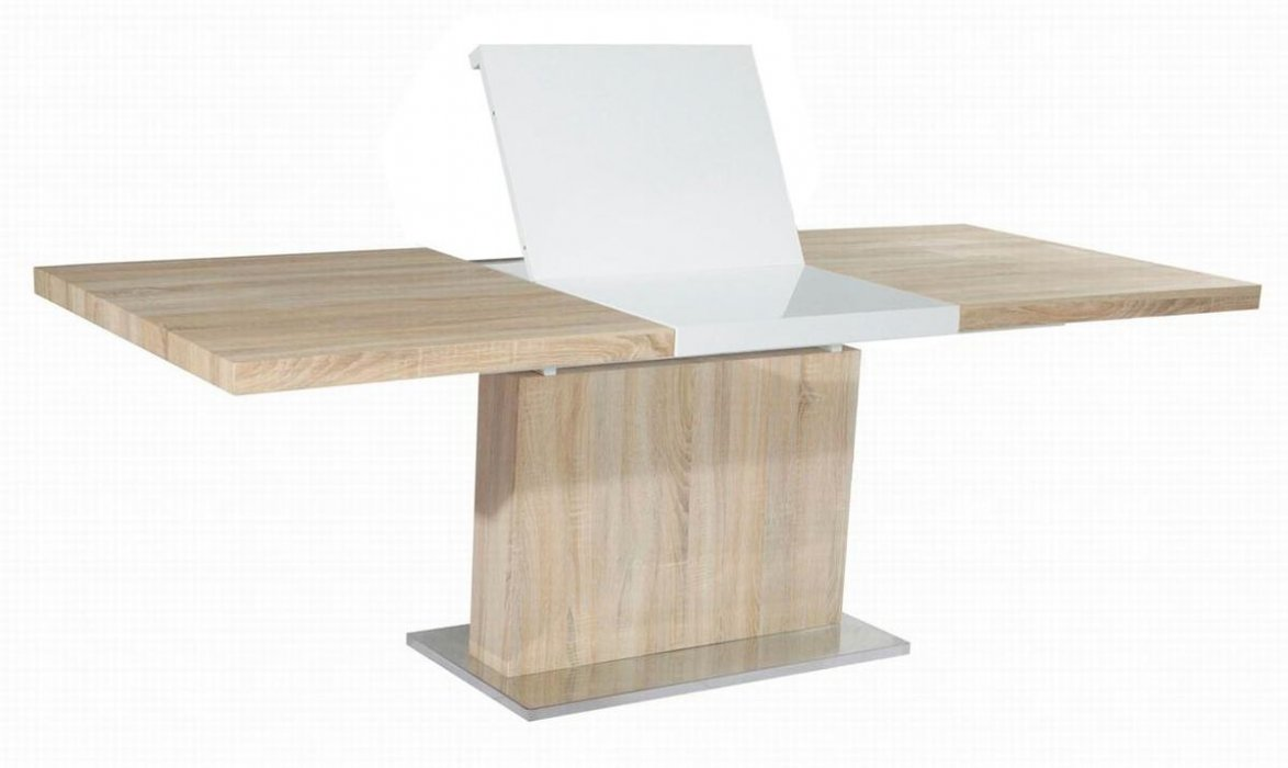 Light oak table with middle extension denver colorado chjac for Light wood kitchen table