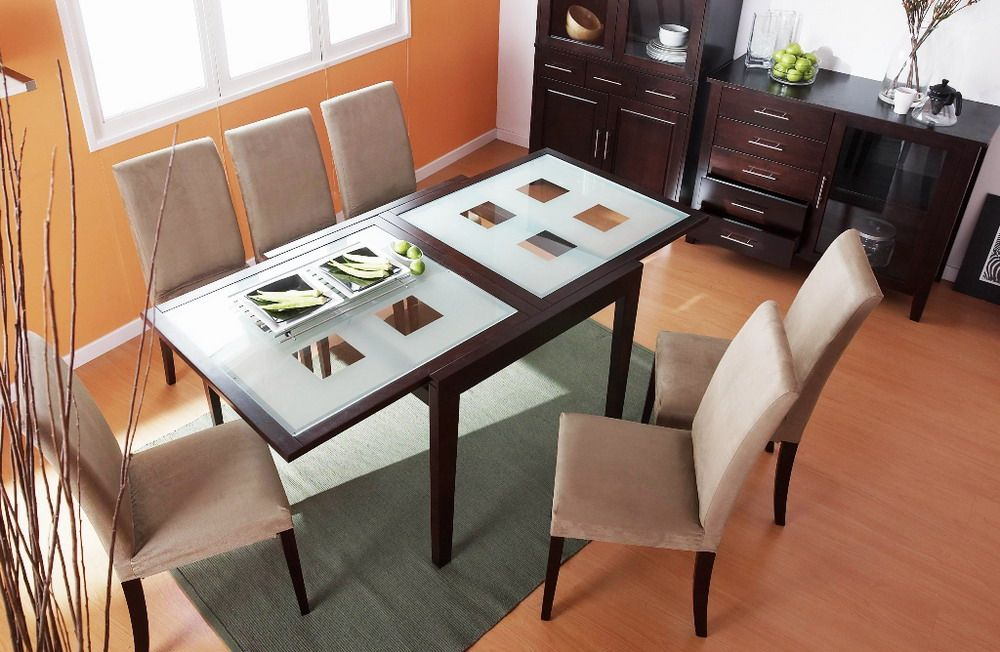 Spring dining table with frosted checkered glass extension for Best extendable dining table